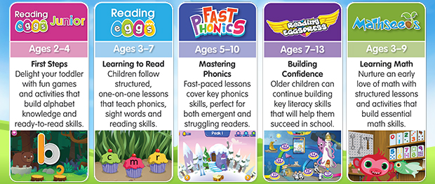There are five programs in the Reading Eggs learning suite - Reading Eggs Junior, Reading Eggs, Fast Phonics, Reading Eggspress and Mathseeds.